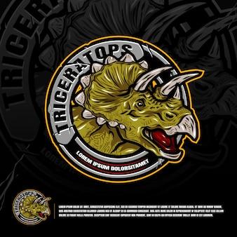 Triceratops logo wektor graficzny projekt