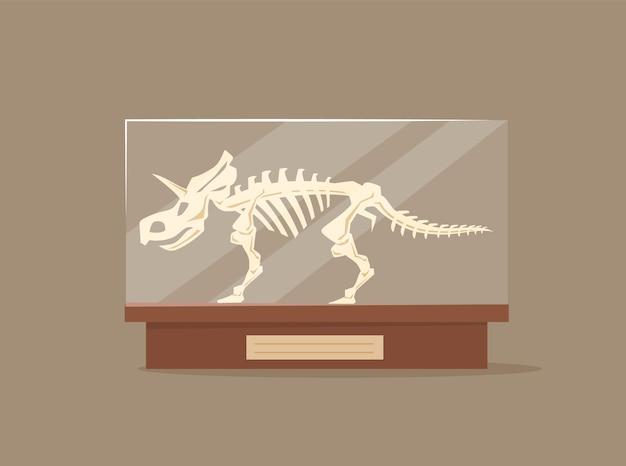 Triceratops w szklanej gablocie ilustracja kreskówka
