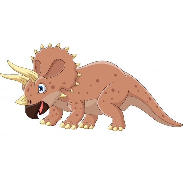 Triceratops zły kreskówka na białym tle