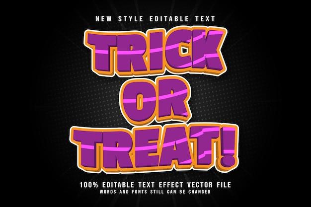 Trick or treat edytowalny efekt tekstowy wytłoczony w nowoczesnym stylu