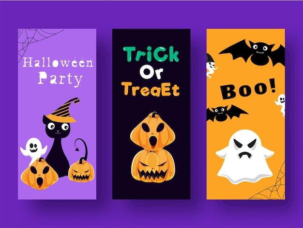 Trick or treat i boo! projekt szablonu lub ulotki w trzech wersjach kolorystycznych