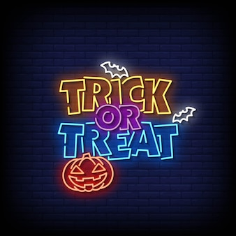 Trick or treat neon signs style text vector