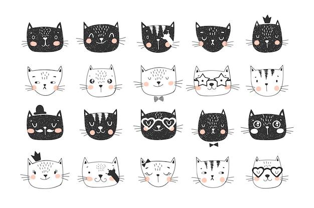Tricolor cat faces doodle kolekcja