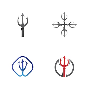 Trident logo szablon wektor ikona ilustracja projekt