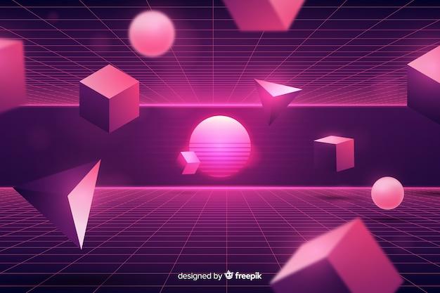 Tridimensional geometryczne retro futurystyczne tło