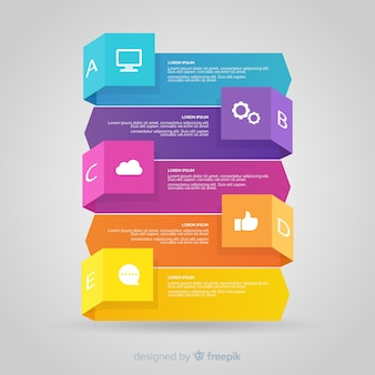 Tridimensional kolorowy numerowany krok infographic