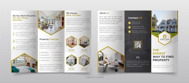 Trifold broszura szablon układu ulotki dla agencji nieruchomości