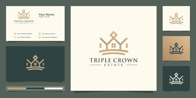 Triple crown estate, logo z minimalną linią. unikalna koncepcja kreatywna, logo i wizytówka.