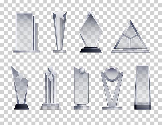 Trofea przezroczysty realistyczny zestaw z symbolami zwycięzcy na białym tle