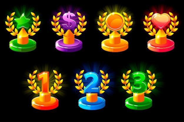 Trofea w różnych kolorach.