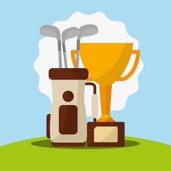Trofeum kije golfowe w mistrzu worek
