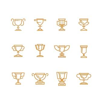Trofeum pucharu linii wektorowe ikony