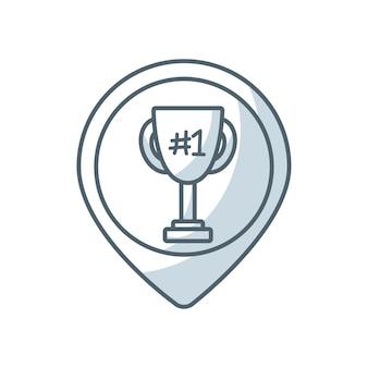 Trofeum zwycięzca ikona linii płaskiej