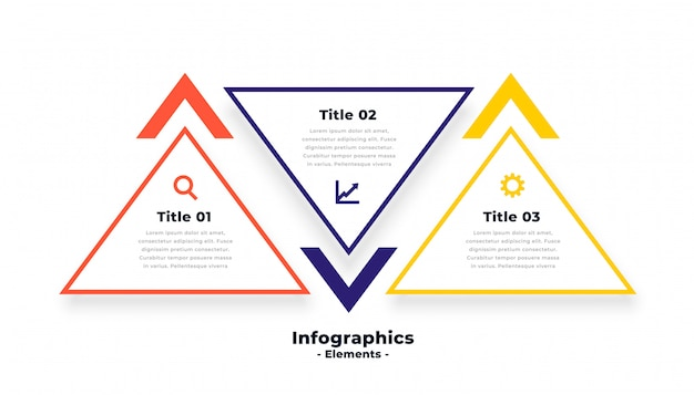 Trójkąt kształt trzy kroki infografiki szablon