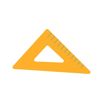 Trójkąt linijki ikona. narzędzie do pomiaru skali. ilustracja szkoły. płaska ilustracja wektorowa na białym tle