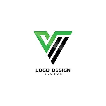 Trójkąt litery v line art logo wektor