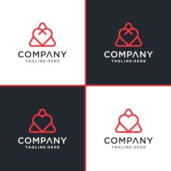 Trójkąt miłość linia logo symbol ikona szablon