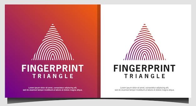 Trójkąt odcisk palca blokada odcisku palca bezpieczny szablon ikony logo bezpieczeństwa