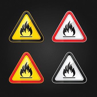 Trójkąt ostrzegawczy zagrożenia wysoce łatwopalny zestaw znaków ostrzegawczych