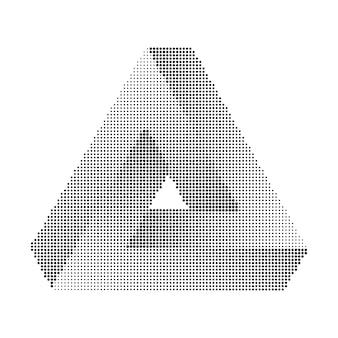 Trójkąt penrose'a. druk półtonowy, geometryczny minimalizm.