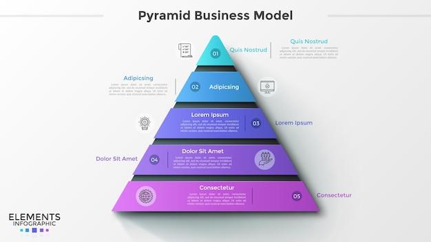 Trójkąt podzielony na 5 ponumerowanych kawałków, cienkie ikony linii i miejsce na tekst. model biznesowy piramidy z pięcioma poziomami. szablon projektu kreatywnych plansza. ilustracja wektorowa do prezentacji.