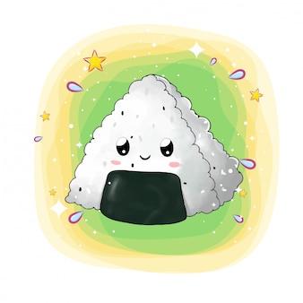 Trójkąt szczęśliwe onigiri z oczami