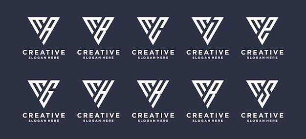 Trójkątna litera m w połączeniu z innymi projektami logo monogramów.
