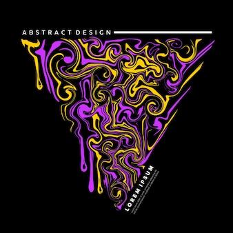 Trójkątna sztuka płynna z mieszaną fioletową i żółtą farbą