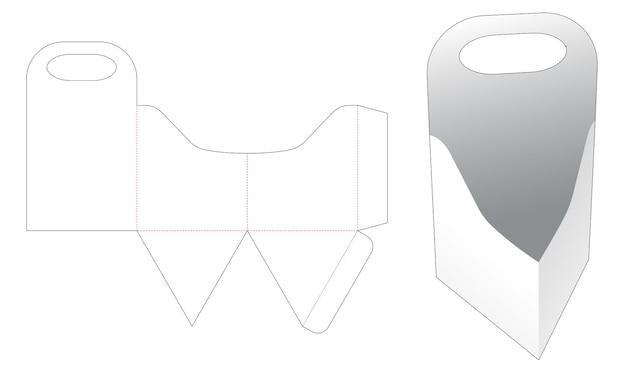 Trójkątna taca z zakrzywionymi krawędziami i szablonem wycinanym z uchwytem
