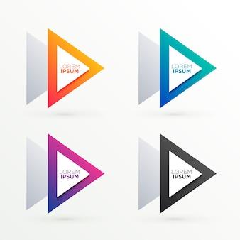 Trójkątne banery ustawione w czterech kolorach