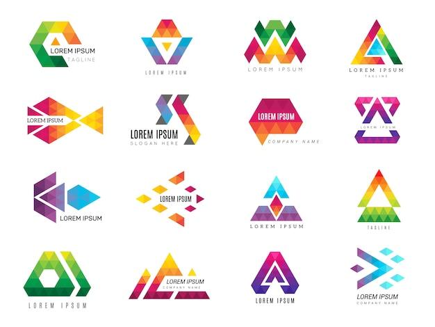 Trójkątne logo. firma reklamująca szablon wielokątne kolorowe symbole kolekcji piktogramów tożsamości. trójkąt biznesowa grafika, geometryczne logo szablonu, ilustracja geometrii logotypu
