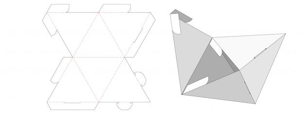 Trójkątne pudełko do pakowania wycinane szablonem