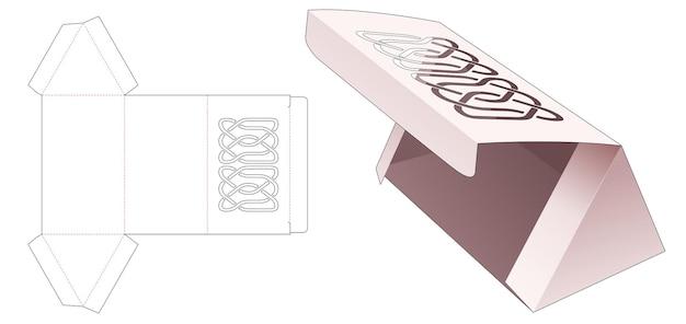 Trójkątne pudełko kartonowe z naciętą linią na szablonie wycinanym z klapką