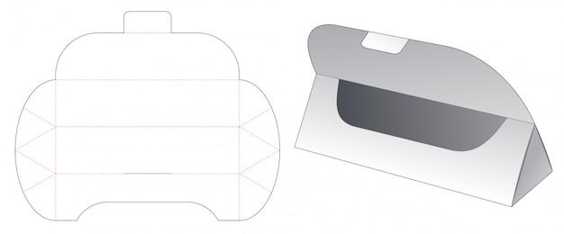 Trójkątne pudełko na prezent wycinany szablon