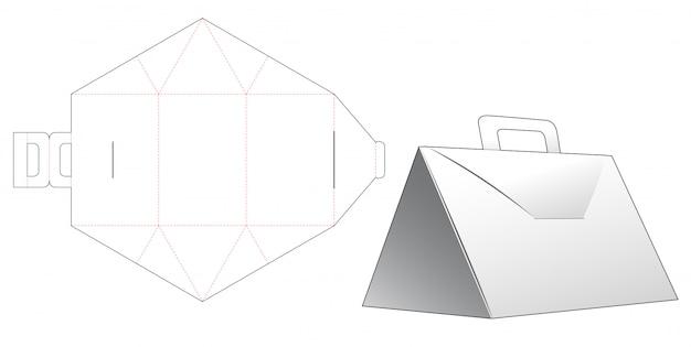 Trójkątne pudełko z uchwytem wycinanym szablonem