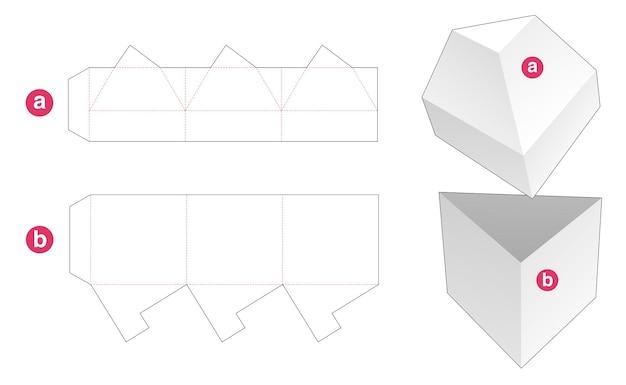 Trójkątne pudełko z wyciętym szablonem w kształcie trójkątnej pokrywy