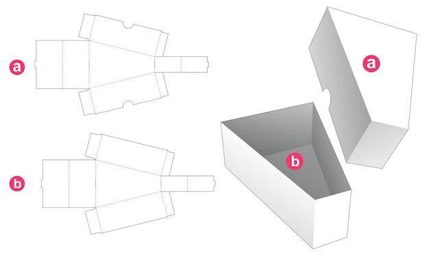 Trójkątne pudełko z wyciętym szablonem wieczka