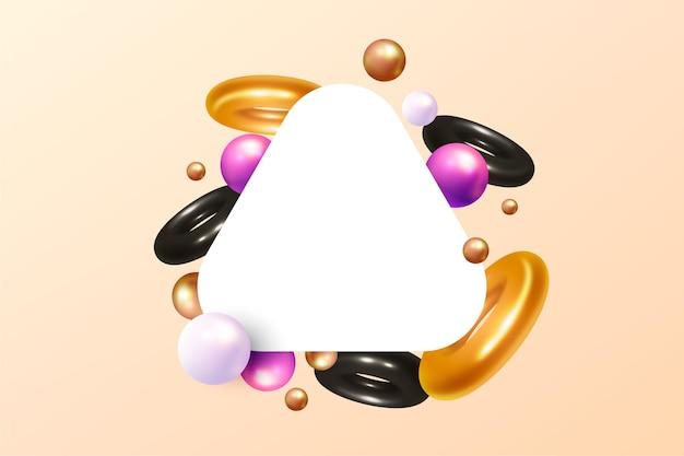 Trójkątny baner z abstrakcyjnymi kształtami w 3d