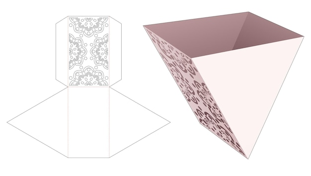 Trójkątny kotainer z szablonem mandali wycinanym szablonem