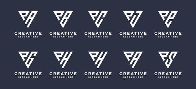 Trójkątny kształt litery p w połączeniu z innymi projektami logo monogramów.