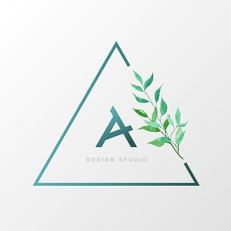 Trójkątny naturalny szablon logo marki, identyfikacja wizualna.