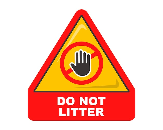 Trójkątny znak czerwony nie zaśmieca. symbol ostrzegawczy. ilustracja wektorowa płaskie.