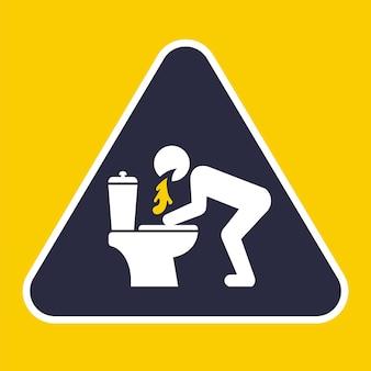 Trójkątny znak do wymiotów w toalecie. ilustracja wektorowa płaskie.