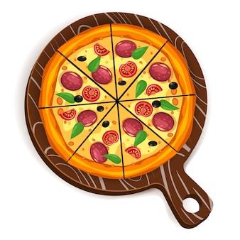 Trójkąty kromki pizzy z różnymi składnikami pomidor, ser, oliwka, kiełbasa, bazylia. tradycyjne włoskie fast foody. widok z góry posiłek na pokładzie drewna