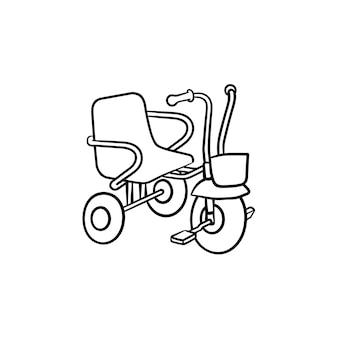 Trójkołowy dla małych dzieci ręcznie rysowane konspektu doodle ikona. rower trójkołowy lub dziecko jako dzieci bawiące się koncepcja szkic wektor ilustracja do druku, sieci web, mobile i infografiki na białym tle.