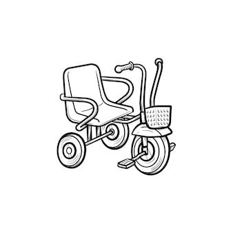 Trójkołowy ręcznie rysowane konspektu doodle ikona. rower trójkołowy lub dziecko jako dzieci bawiące się koncepcja szkic wektor ilustracja do druku, sieci web, mobile i infografiki na białym tle.