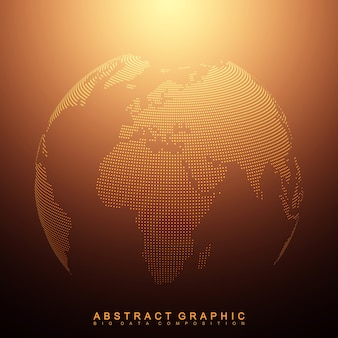 Trójwymiarowa planeta abstrakcyjne tło. kropkowana kula ziemska