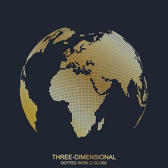 Trójwymiarowa planeta. kropkowana kula ziemska, złoty wzór. ja