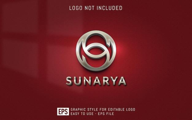 Trójwymiarowe luksusowe style graficzne logo, edytowalny szablon efektu stylu