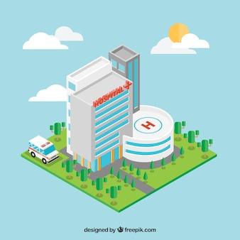 Trójwymiarowy elewacji szpitala
